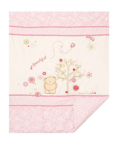 'IZZIWOTNOT' FOREVER FRIENDS LUXURY  PINK COLOUR COT BED QUILT